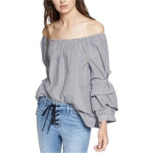 Sanctuary Tiered Sleeve Off the Shoulder Blouse S
